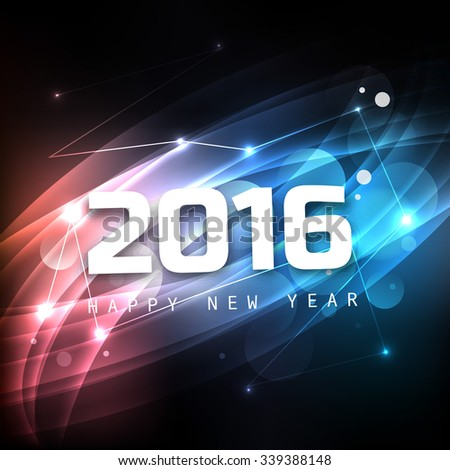 2016 Happy New Year shiny colorful background - stock vector