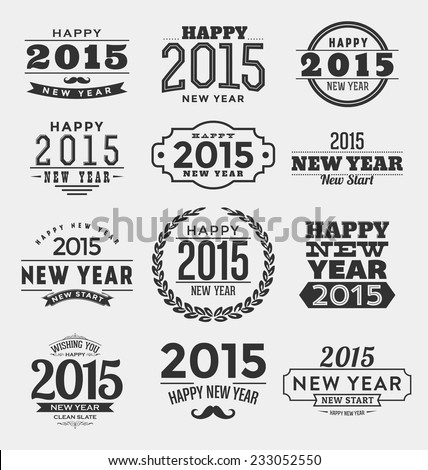 2015 - Happy New Year - Typographic Design Set - Trendy Vintage Style Elements - stock vector