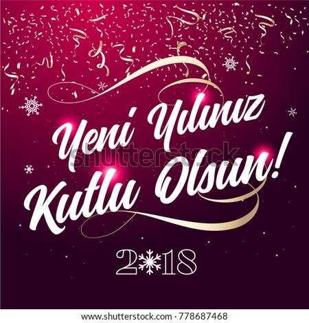 2018 happy new year typography card stock vector 771928981 2018 happy new year typography card turkish yeni yiliniz kutlu olsun m4hsunfo