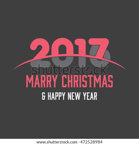 2017 Happy New year typography. Seasons greetings. merry christmas and happy new year Pink and Gray typography background. vector illustration