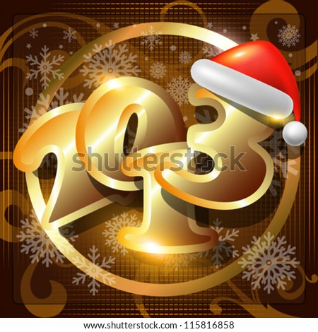 2013 Happy New Year vector card or background with Santa`s hat,snowflakes, stars. - stock vector