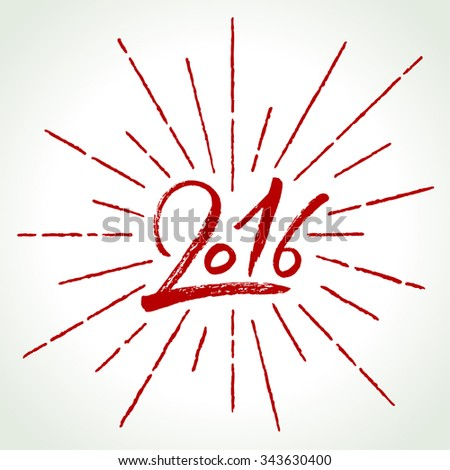 2016 Happy New Year vector illustration. Hand written calligraphy and burst. - stock vector