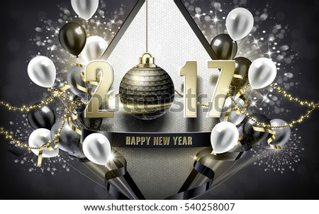 2017 Happy New Year with silver bauble and balloon background