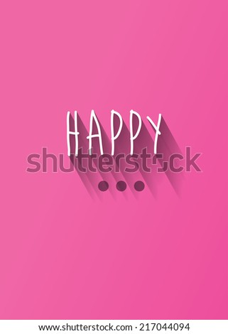 """happy"" typography with shadow vector, Eps 10 - stock vector"