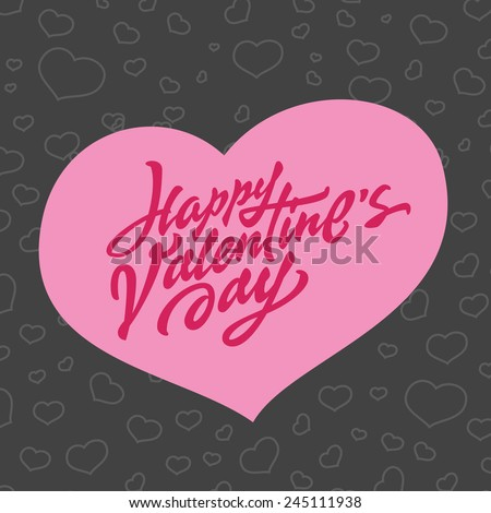 'Happy Valentine's Day' hand drawn brush script lettering typographic composition and heart shape for greeting card design, t shirt apparel, print, poster, vector illustration - stock vector