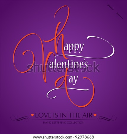 'happy valentine's day' hand lettering; scalable and editable vector illustration (eps8); - stock vector