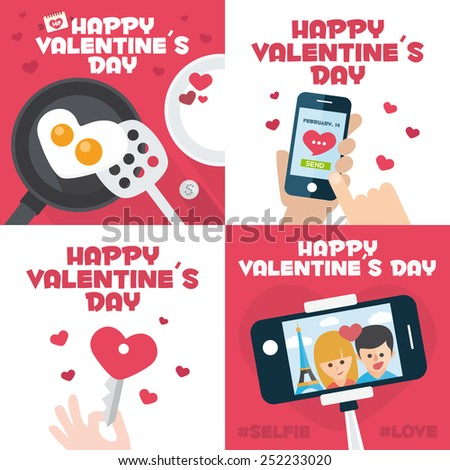 4 happy valentines day cards with Fried egg in heart shape, Mobile send mail, Heart Key, and stick selfie - stock vector