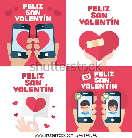 4 happy valentines day cards with mobiles, hearts, band aid, and lollipop written in Spanish - stock vector