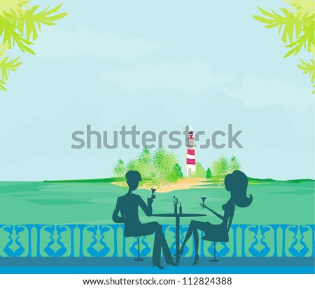 Happy young couple on a tropical beach - stock vector