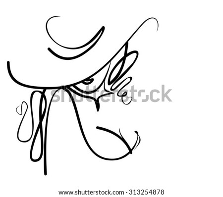 hat. VECTOR  stylish  original hand-drawn graphics portrait  with beautiful young attractive girl model for design. Fashion, style,    beauty . Graphic, sketch drawing. Sexy  woman