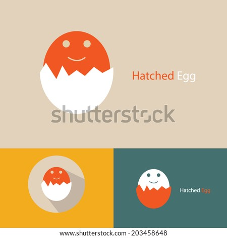 'Hatched Egg', conceptual egg icon vector. - stock vector