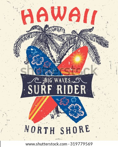 46 hawaii north shore surf rider stock vector 319779569 for Hawaiian graphic t shirts