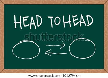 """""""head to head"""" word written on chalkboard - stock vector"""