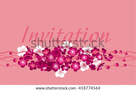 header template with pink spring tree blossom