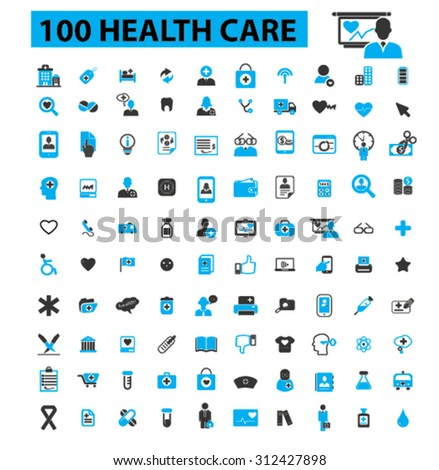 100 health care icons concept. Medicine, medical, hospital, doctor, healthcare, health icons. Vector illustration set - stock vector
