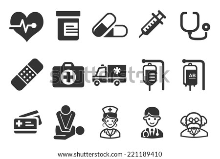 Health Care Icons - Medical Illustration - stock vector