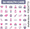 36 health care icons set, vector illustrations - stock vector