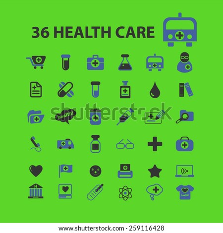 36 health care, medicine, hospital icons, signs, illustrations concept design set, vector - stock vector