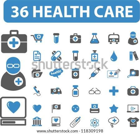 36 health care & medicine icons set, vector - stock vector