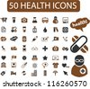 50 health icons set, vector - stock vector