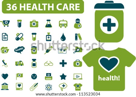 36 health & medicine icons set vector - stock vector