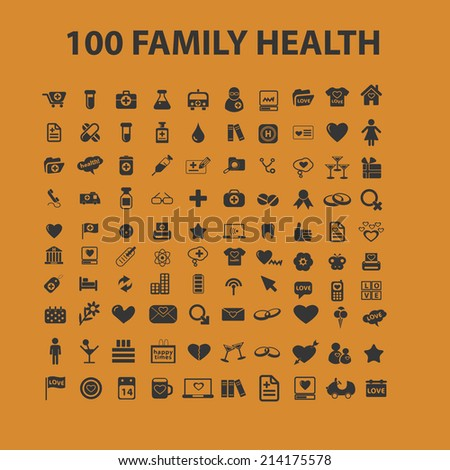 100 health, medicine isolated icons, signs, illustrations, silhouettes, vectors set - stock vector