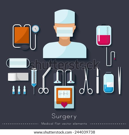 Healthcare and medical concept. Surgical set in flat style - stock vector