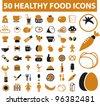 50 healthy food icons set,vector - stock vector