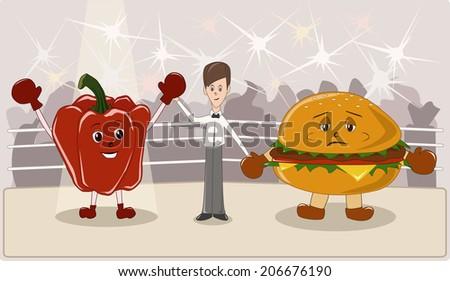 Healthy or unhealthy food - stock vector