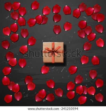 heart of red rose petals with gift box. valentine`s card with heart  - stock vector