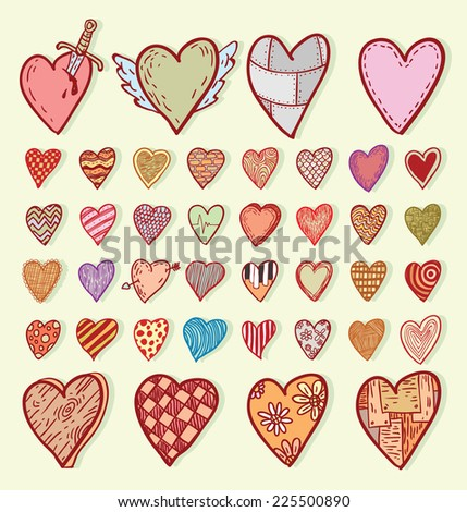 heart shape set doodle, hand drawn. - stock vector