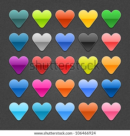 25 heart sign glossy web button. Blank color rounded shape with black drop shadow on dark gray background with noise effect. This design element vector illustration saved 10 eps - stock vector