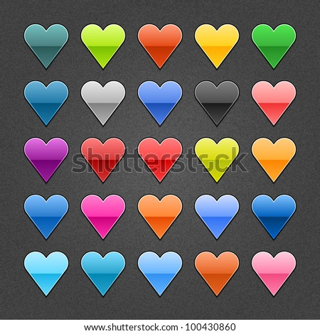 25 heart sign glossy web button. Blank color shape with black drop shadow on dark gray background with noise effect. Vector illustration EPS 10. - stock vector