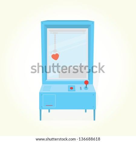 """Heart toy prize"" claw machine isolated vector - stock vector"