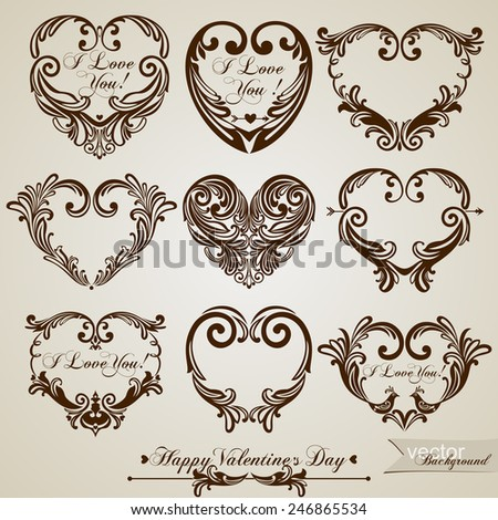 9 hearts in vintage style for greeting cards. Vector illustration  - stock vector