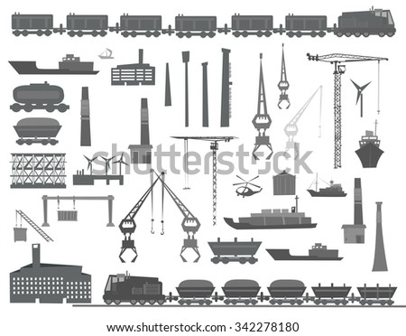 Heavy industry concept set of design elements, trains, lorries, ships cargo and etc - stock vector