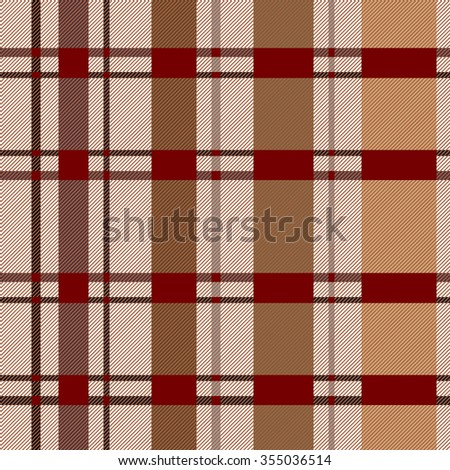 ?heckered plaid. Seamless pattern with stripes and diagonal hatching. Retro textile collection. Brown, beige. Backgrounds & textures shop. - stock vector