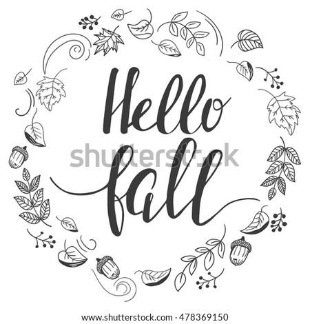 hello fall autumn template doodle style stock vector 478369150