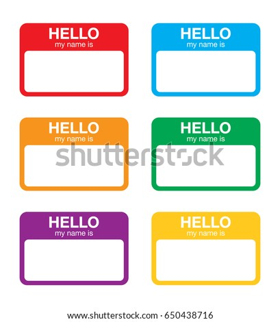 hello my name is sticker label stock vector royalty free 650438716