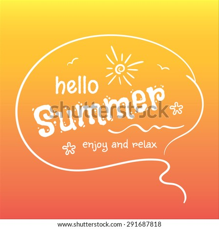 """Hello Summer"" typographic design poster on a blurred background orange with sun, sea waves, starfish. Vector illustration EPS 10 - stock vector"