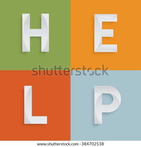 'HELP' four-letter-word for websites, illustration, vector - stock vector