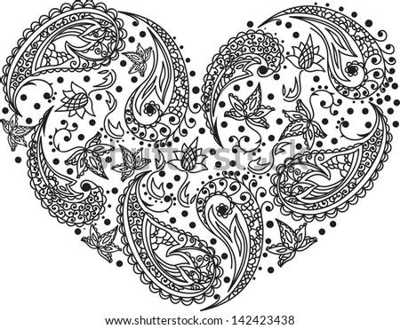 Henna menhdi paisley heart  design - stock vector