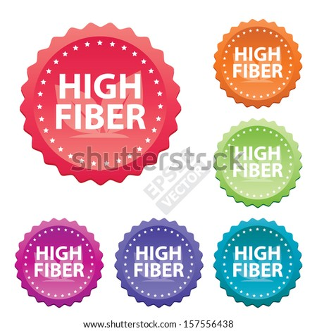 """High Fiber"" Product stickers for business and e-commerce. eps10 vector"