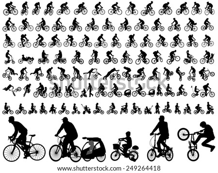 106 high quality bicyclists silhouettes - stock vector