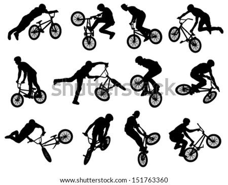 12 high quality bmx cyclist silhouettes - vector - stock vector