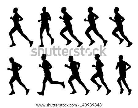 10 high quality marathon runners silhouettes - stock vector