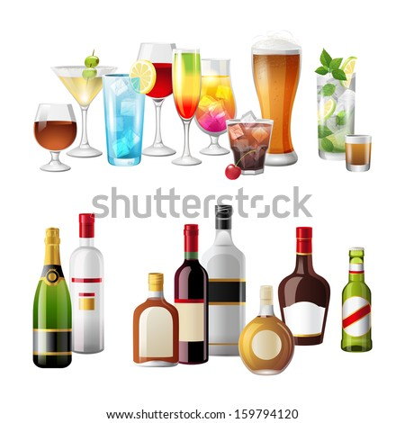 2 highly detailed borders with alcohol drinks - stock vector
