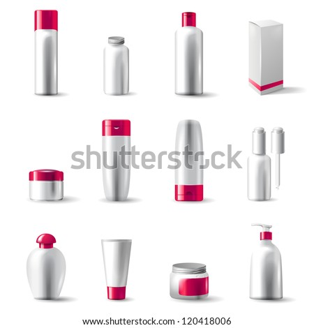 12 highly detailed cosmetics package icons - vector.