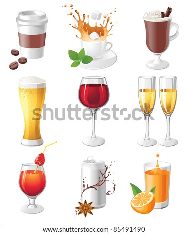 9 highly detailed drinks icons - stock vector