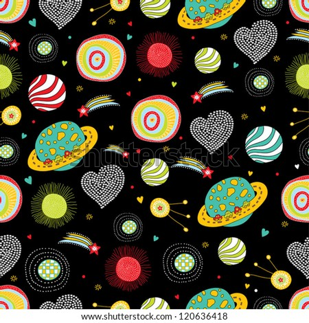 ?hildren's space pattern. Seamless pattern can be used for wallpaper, pattern fills, web page background, surface textures. - stock vector
